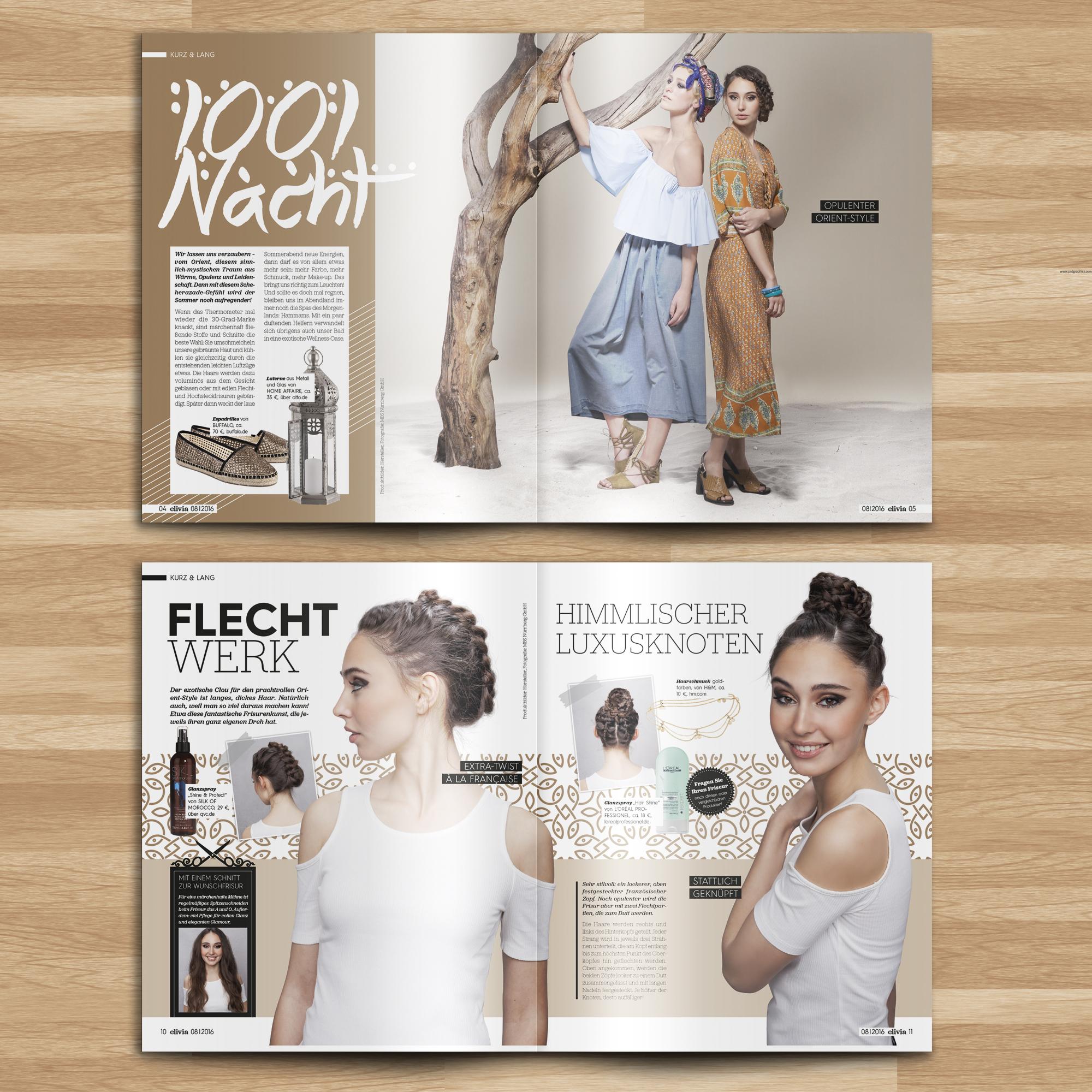Innenseiten Beauty Retusche Mockup Clivia Friseur Magazin